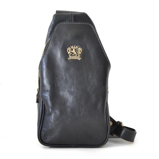 Pratesi Bruce Range San Quirico d'Orcia Sling Leather Backpack in Black