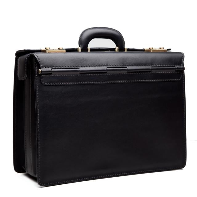 Pratesi Bruce Range Lorenzo Il Magnifico Lawyers Briefcase, Leather Attorney Case in Black
