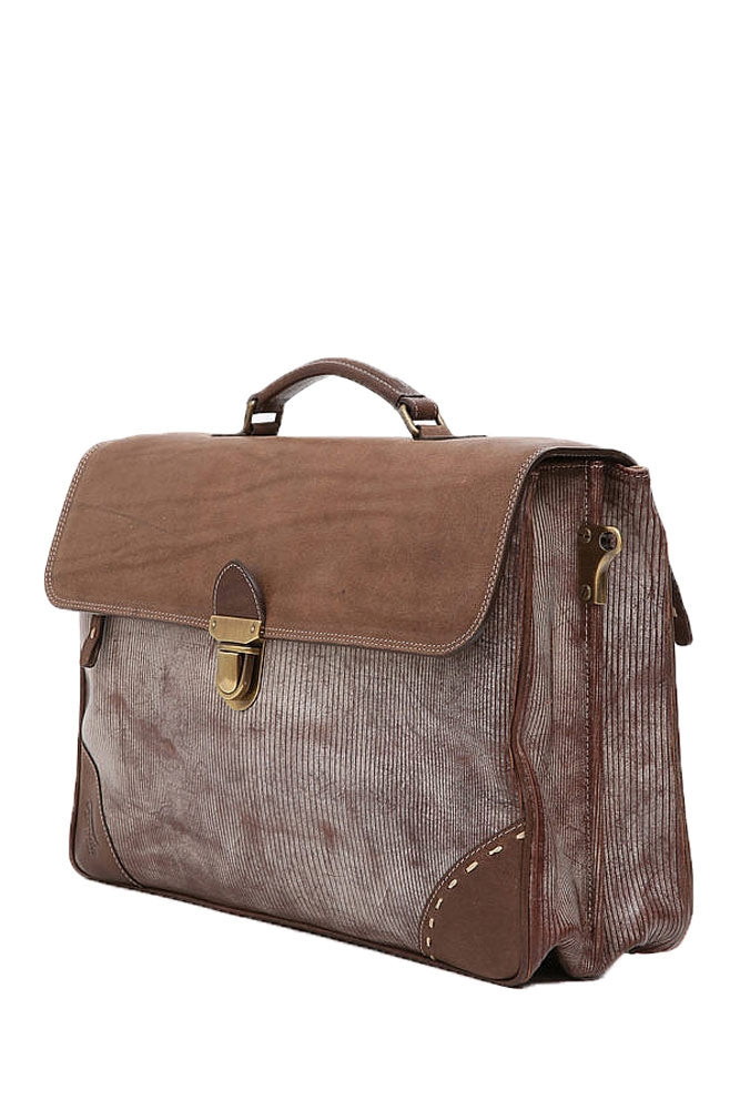 Terrida Ghost Zepellin Briefcase, Double Compartment Flap Over in Brown