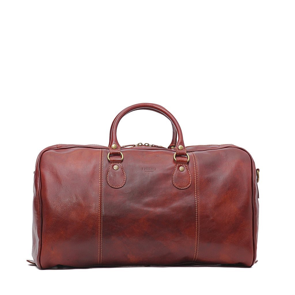 "I Medici 18"" Small Italian Leather Duffel Bag, Travel Luggage in Brown"