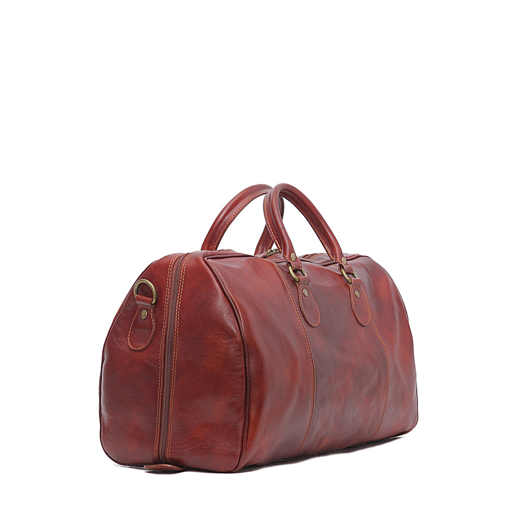 "Side of I Medici 18"" Small Italian Leather Duffel Bag, Travel Luggage"