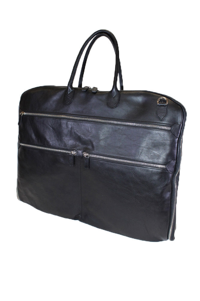 Terrida Marco Polo CARAVAGGIO Leather Travel Garment Bag in Black