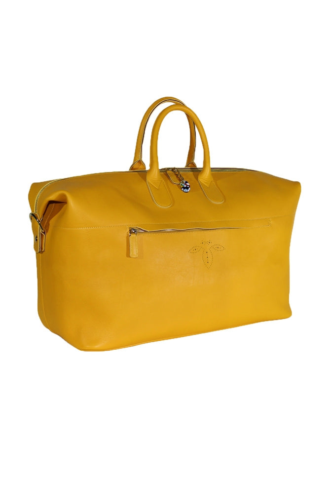 Terrida Murano Collection Leather Duffel Bag, Travel Carry On in Yellow