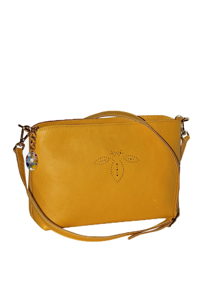 Terrida Murano Collection Small Shoulder Bag, Leather Purse in Yellow
