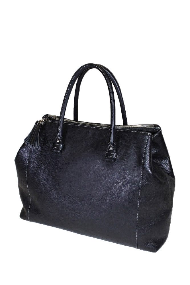 Terrida Marco Polo Raffaello Leather Handbag With Magnetic Closure in Black