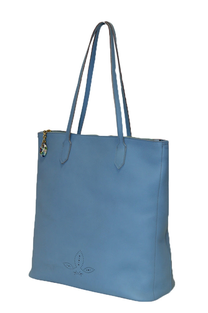 Terrida Murano Collection Leather Shopping Tote for Women in Light Blue