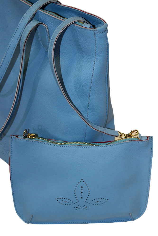 Side of Terrida Murano Collection Leather Shopping Tote for Women
