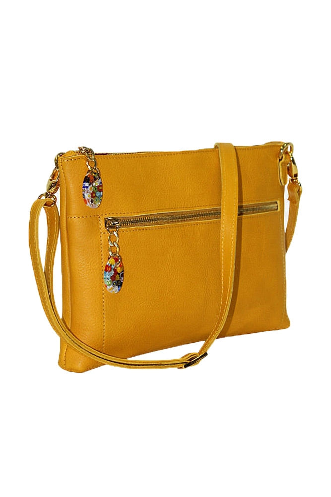 Terrida Murano Collection Leather Shoulder Bag, Small Purse in Yellow