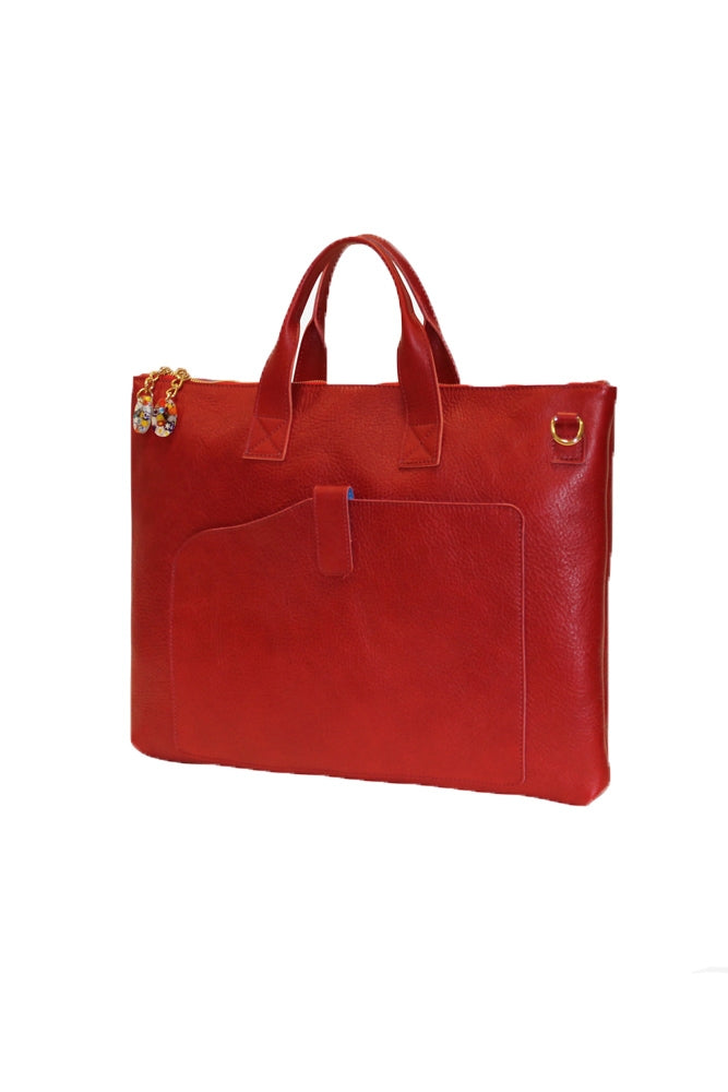 Terrida Murano Collection Slim Briefcase for Women in Red