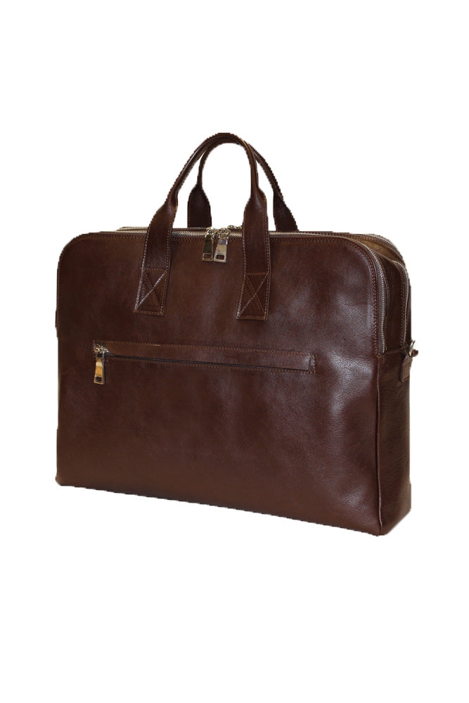 Terrida Marco Polo Collection Leather Briefcase, Top Zip Business Bag in Dark Brown