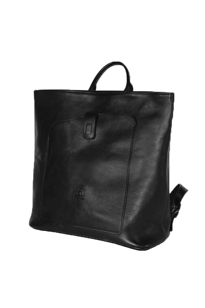 Terrida Marco Polo Collection Leather Square Backpack With Handle in Black