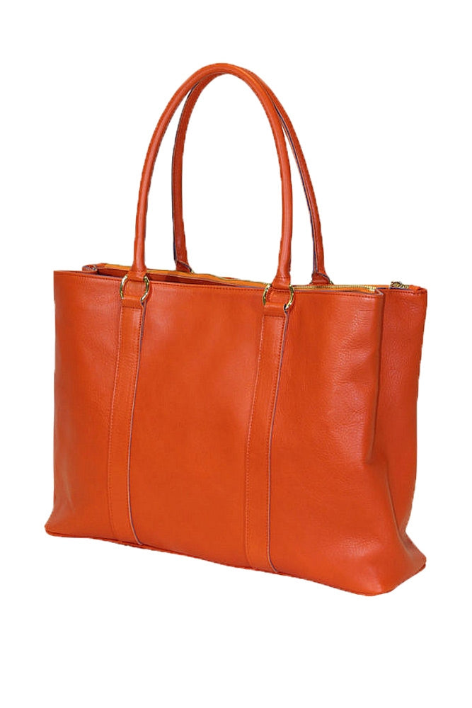 Rear of Terrida Murano Collection Leather Handbag, Top Handle Tote Bag