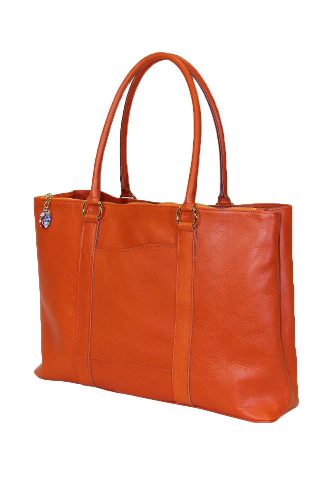 Terrida Murano Collection Leather Handbag, Top Handle Tote Bag in Orange