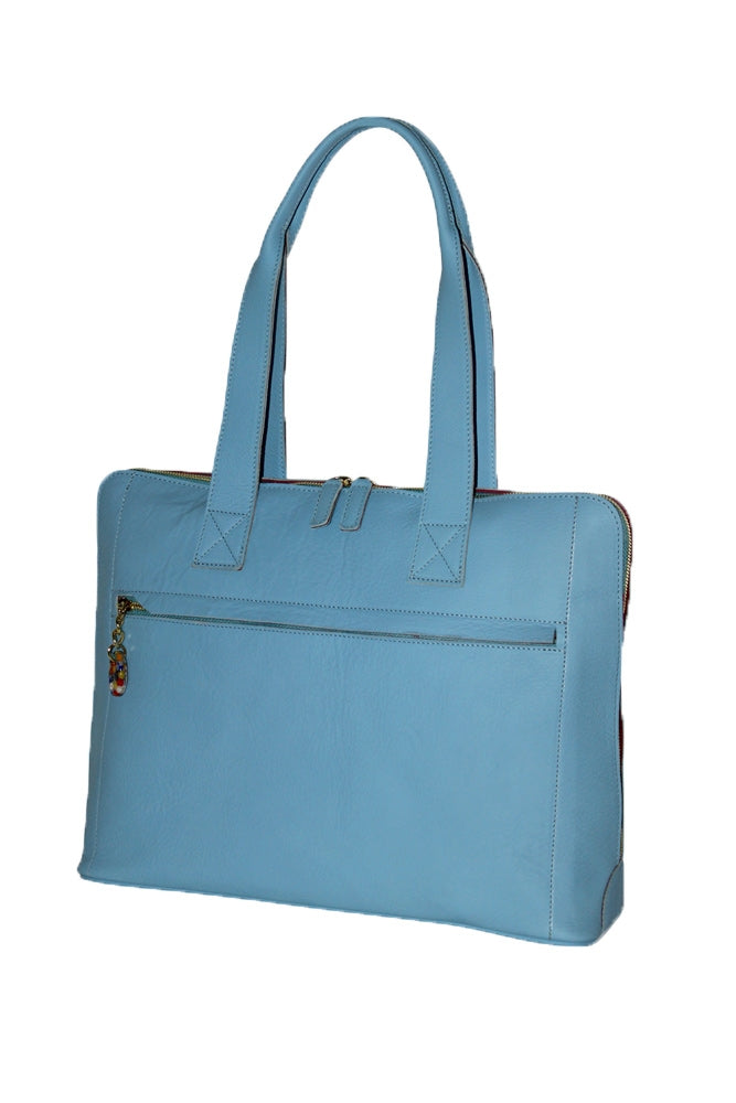 Terrida Murano Collection Women's Leather Shoulder Bag Handbag in Light Blue