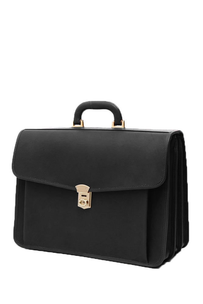 Terrida Marco Polo Veronese Leather Briefcase, Work Bag With Key Lock in Black