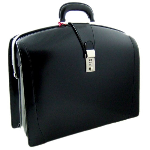 Pratesi Radica Range Brunelleschi Large Lawyer's Briefcase, Attorney Bag, Laptop Pocket in Black
