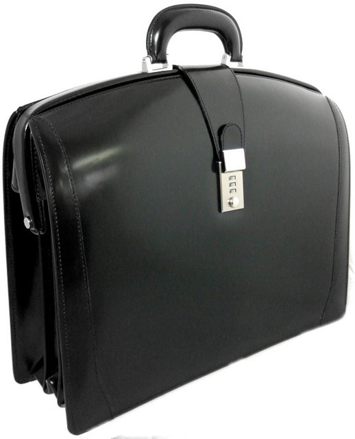 Pratesi Radica Range Brunelleschi Small Lawyer's Briefcase, Leather Attorney Bag in Black