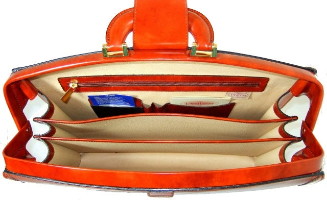 Inside of Pratesi Radica Range Brunelleschi Small Lawyer's Briefcase, Leather Attorney Bag