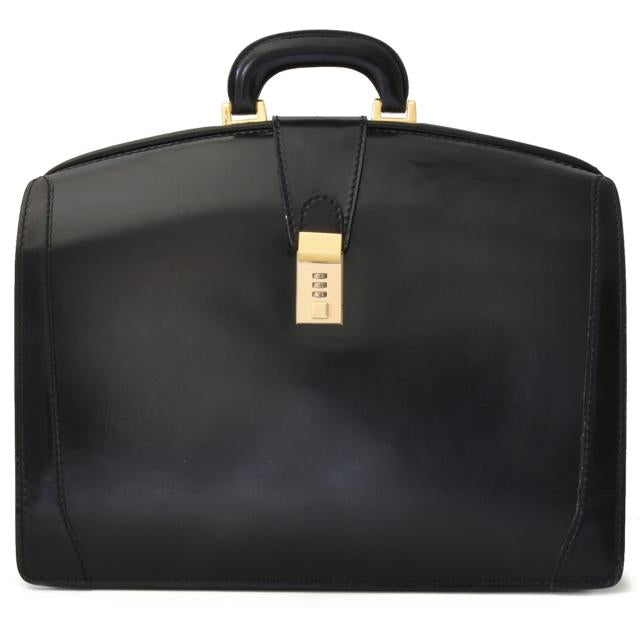Pratesi Santa Croce Range Brunelleschi Large Lawyers Briefcase, Leather Laptop Attorney Case in Black