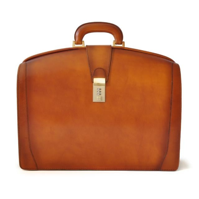 Pratesi Santa Croce Range Brunelleschi Leather Lawyers Briefcase, Laptop Attorney Case in Cognac