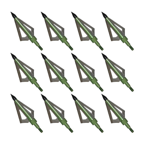 12x 100-grain Green/Silver Screw-in Broadheads
