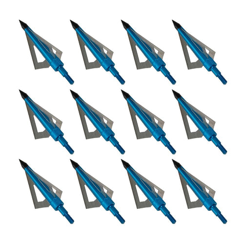 12x 125-grain Blue/Silver 3-blace Screw-In Broadheads