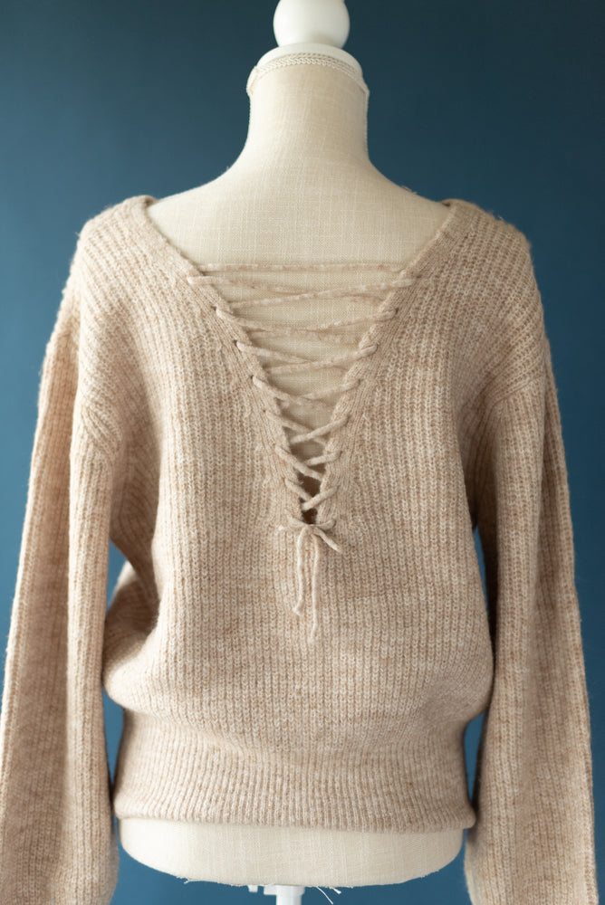 Load image into Gallery viewer, Rachel Lace Up Back Sweater