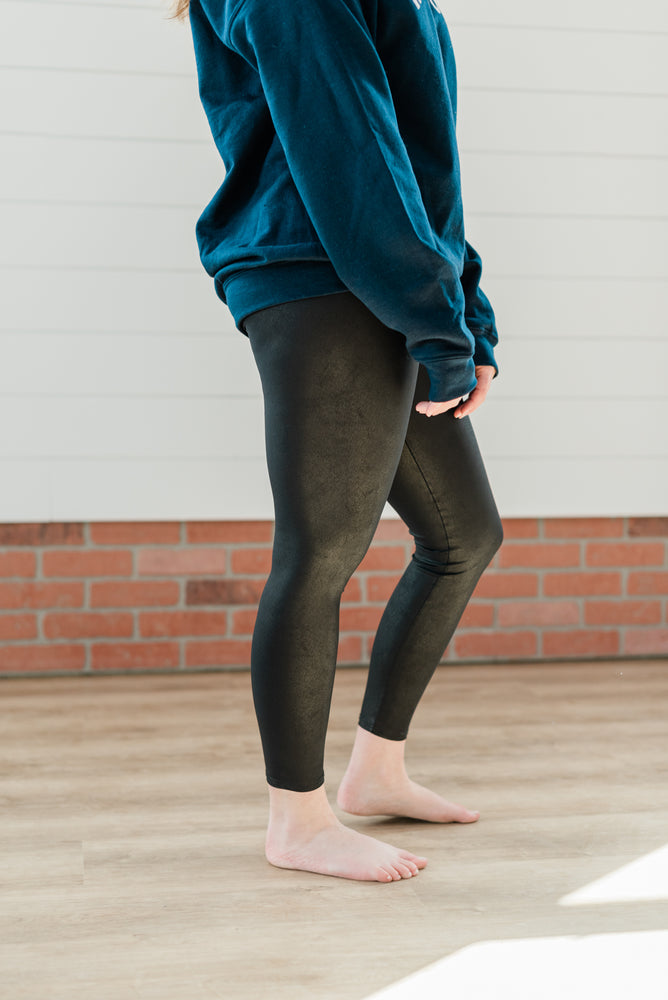 Textured Leather Leggings