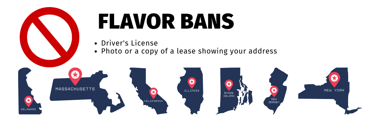 """The text reads """"Flavor Bans"""", with bullet points underneath: """"Drivers License"""" and """"Picture or copy of lease"""". The shapes of the states affected by the flavor bans are lined up on the bottom of the page: New Jersey, New York, Rhode Island, Massachusetts, Delaware, Illinois, and California."""