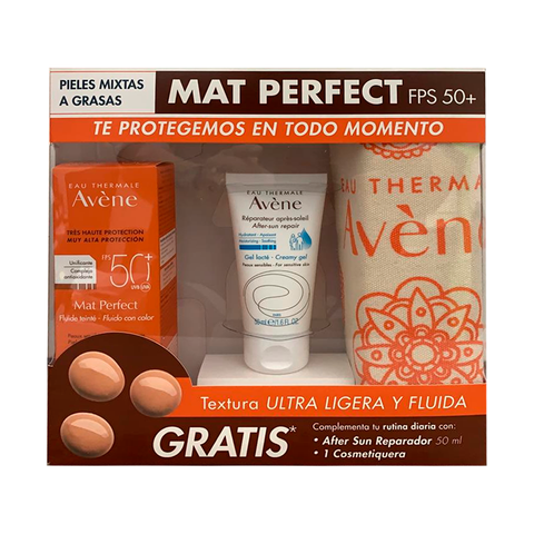 AVENE ULTRA MAT TOQUE SECO COLOR + AFTER SUN  + COSMETIQUERA
