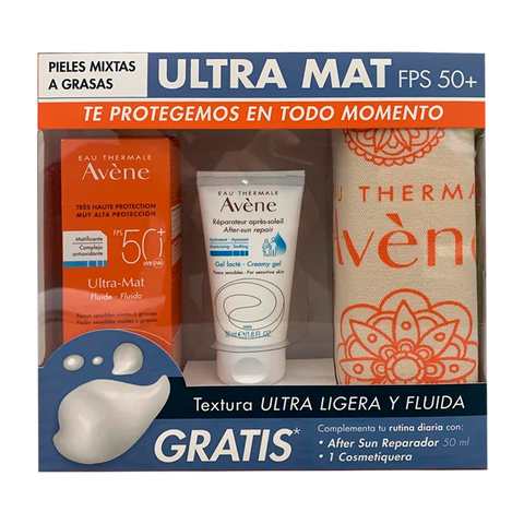 AVENE ULTRA MAT TOQUE SECO + AFTER SUN  + COSMETIQUERA