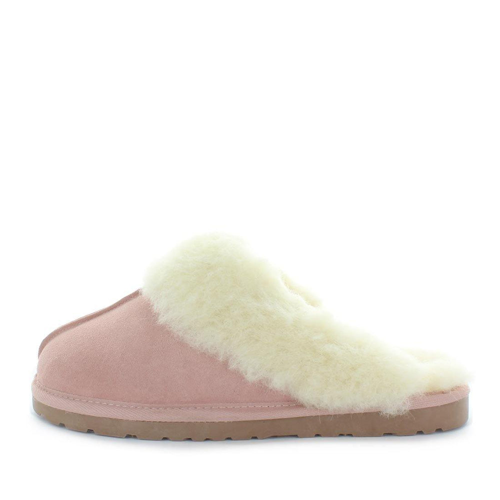 Just Bee UGGs- cita- womens little slip-on slipper style, 100% wool, leather shoe with detailed upper and over hanging wool on the trim - womens comfort slippers - womens best slippers- UGGs