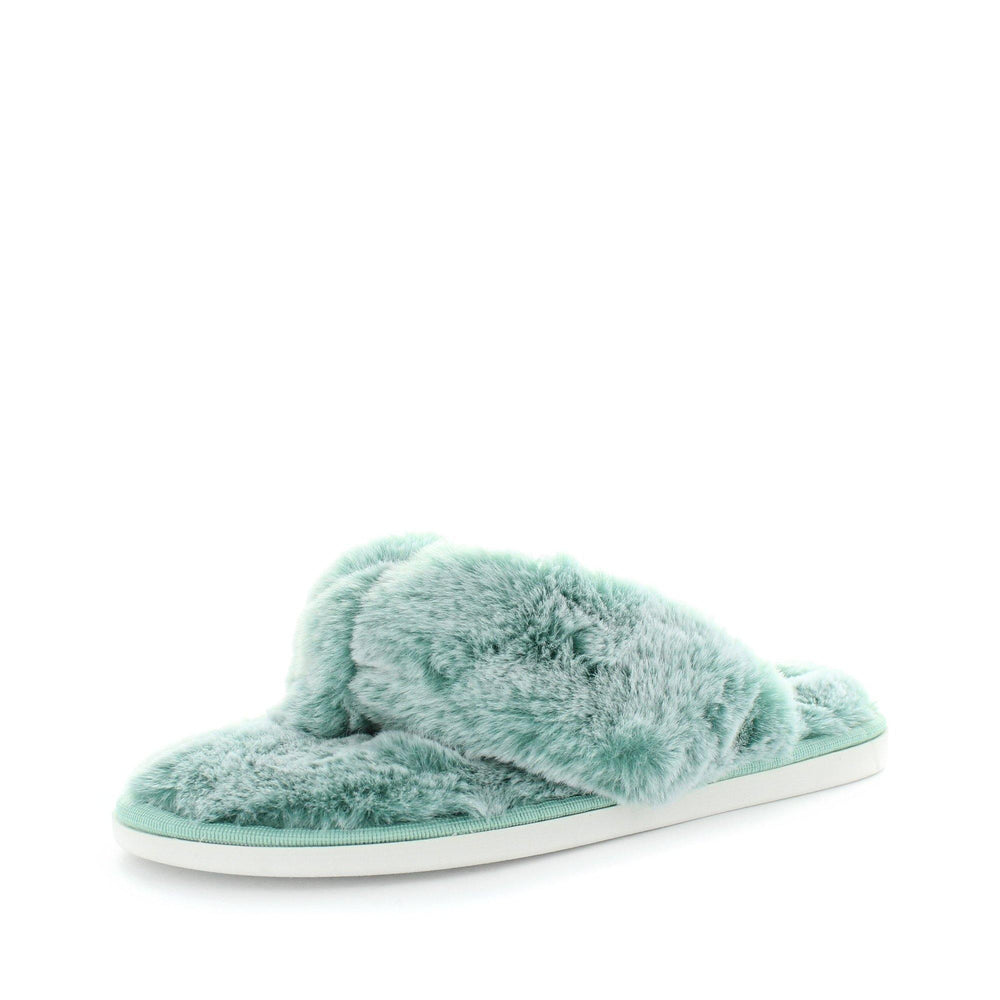 womens slippers - Soft green Edora slipper, by panda Slippers. A thong style slipper with a soft faux fur design and extra comfy fit