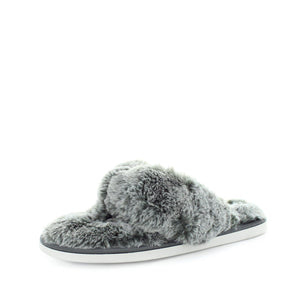 womens slippers - Soft grey Edora slipper, by panda Slippers. A thong style slipper with a soft faux fur design and extra comfy fit