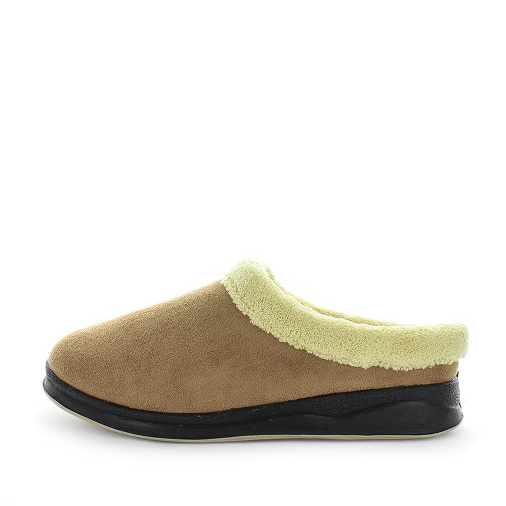 womens slippers - camel Endy slipper, by panda Slippers. A scuff style slipper with a micro-terry design for warmth and an extra comfy fit with anon slip sole - comfort womens slippers