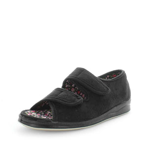 womens slippers - black entice slipper, by panda Slippers. A sandal slipper with a soft micro-fibre design, multiple velcro straps and a padded footbed for an extra comfy fit