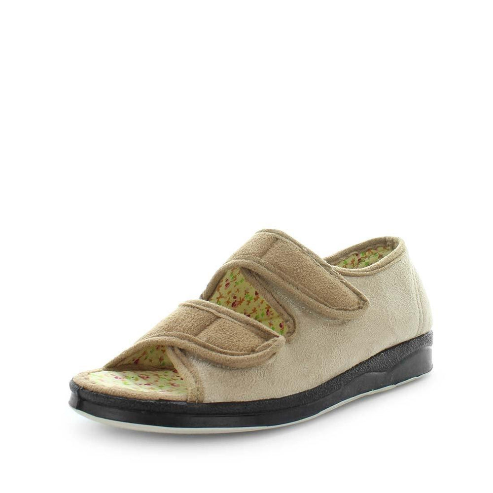 womens slippers - camel entice slipper, by panda Slippers. A sandal slipper with a soft micro-fibre design, multiple velcro straps and a padded footbed for an extra comfy fit
