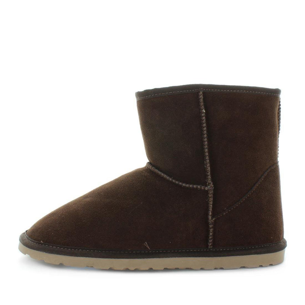 Just Bee UGGs- cafy- Men's classic boot style slipper, 100% wool, leather shoe with detailed upper and over hanging wool on the trim - Men's comfort slippers - Men's best slippers- UGGs