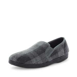 Classic mens slip on slipper, Edword by panda slippers. A grey check mens slipper made with soft materials and comfy fit design for the perfect indoor slipper.
