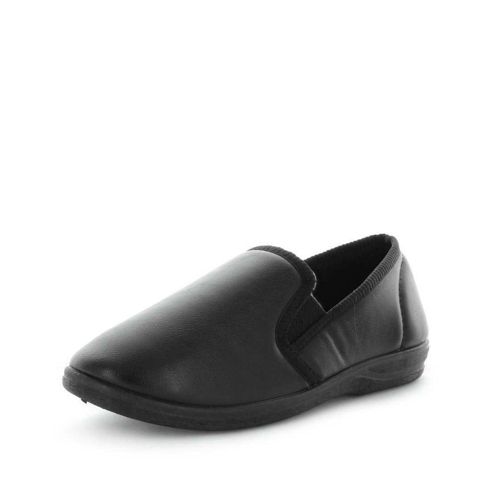 Load image into Gallery viewer, Classic mens slip on slipper, Edword by panda slippers. A black mens slipper made with soft materials and comfy fit design for the perfect indoor slipper.
