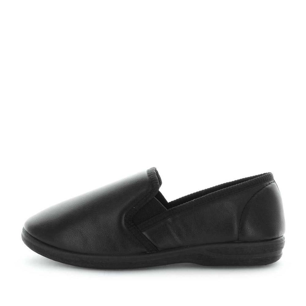 Classic mens slip on slipper, Edword by panda slippers. A black mens slipper made with soft materials and comfy fit design for the perfect indoor slipper.