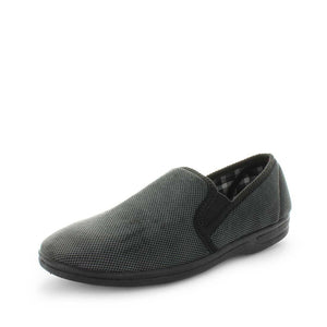 Load image into Gallery viewer, Classic mens slip on slipper, Edword by panda slippers. A grey check mens slipper made with soft materials and comfy fit design for the perfect indoor slipper.
