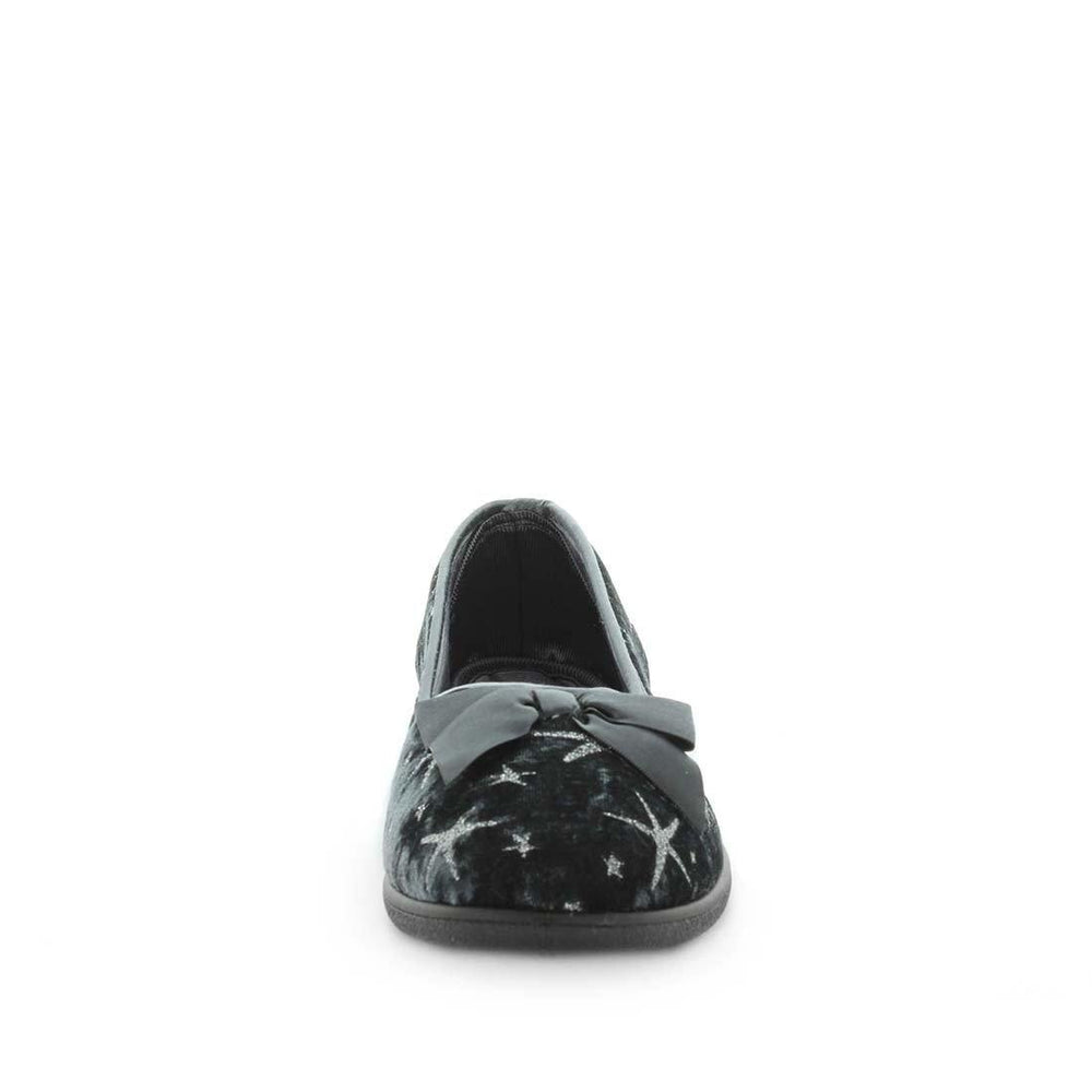 Womens slippers - emilyn by panda slippers. A dark grey printed velour court and bow slipper with a quilted lining and sock for a soft to touch feel.