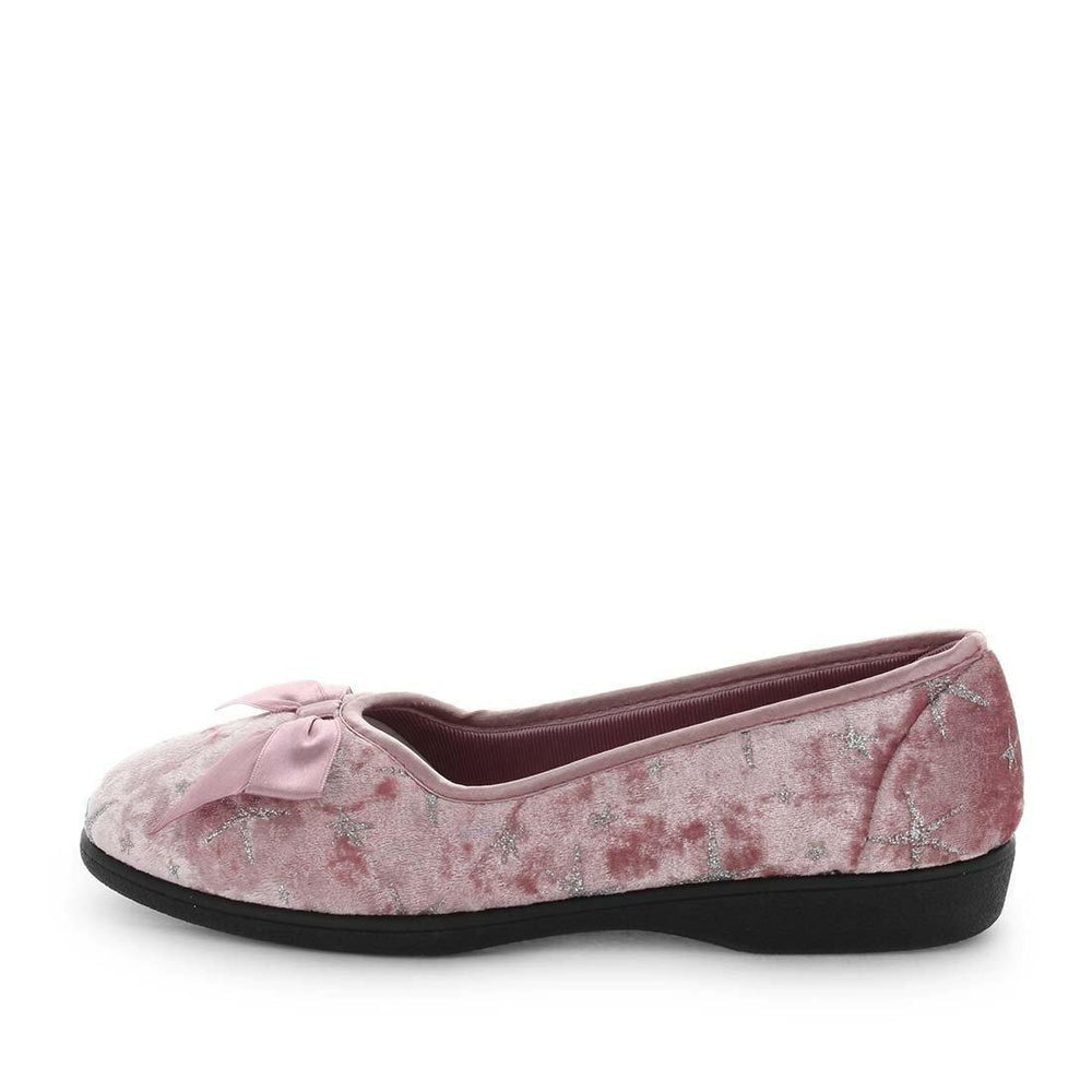Womens slippers - emilyn by panda slippers. A pink printed velour court and bow slipper with a quilted lining and sock for a soft to touch feel.