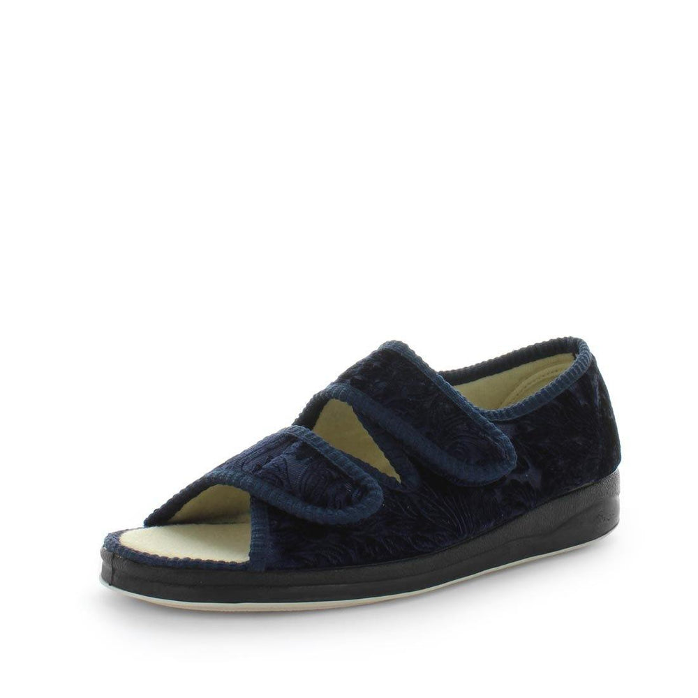 womens slippers - Navy entice slipper, by panda Slippers. A sandal slipper with a soft micro-fibre design, multiple velcro straps and a padded footbed for an extra comfy fit - comfort summer womens slippers
