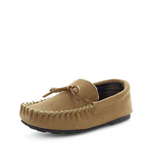 mens moccasin slipper, espen by panda slippers. A chestnut mens slipper with soft polar fleece materials and comfy fit design for the perfect mens indoor slipper.