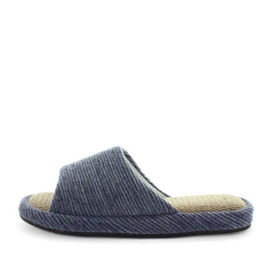 womens slippers - blue etna slipper, by panda Slippers. Slide slipper with a soft fabric design, hemp materials, and extra comfy fit. made for indoors and outdoors.