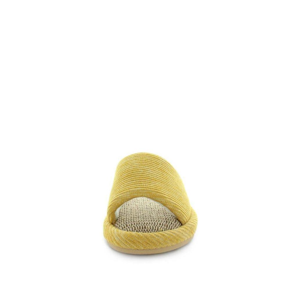 womens slippers - mustard etna slipper, by panda Slippers. Slide slipper with a soft fabric design, hemp materials, and extra comfy fit. made for indoors and outdoors.