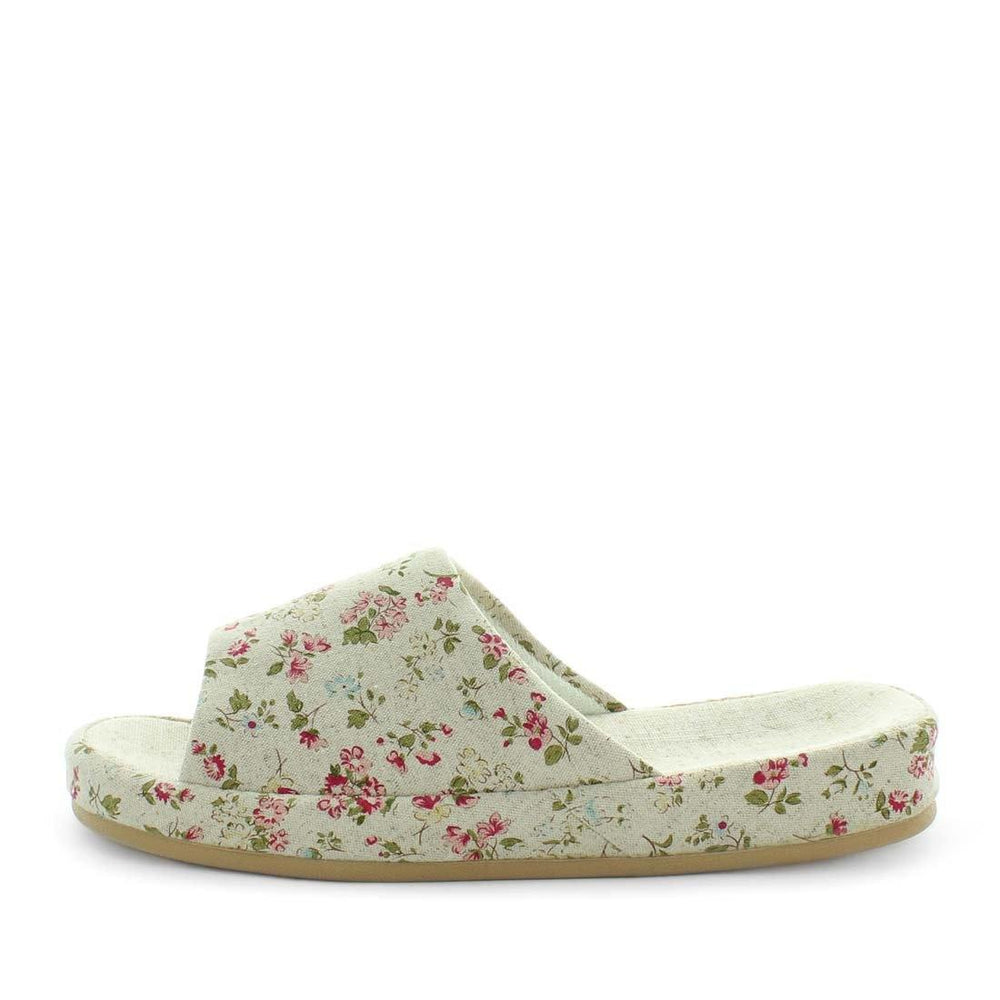 womens slippers - red floral slide slippers, by panda Slippers. A slide style slipper with red flowers on the top.  A soft fabric design and extra comfy sole. A strong durable outsole , perfect indoor and outdoor slippers