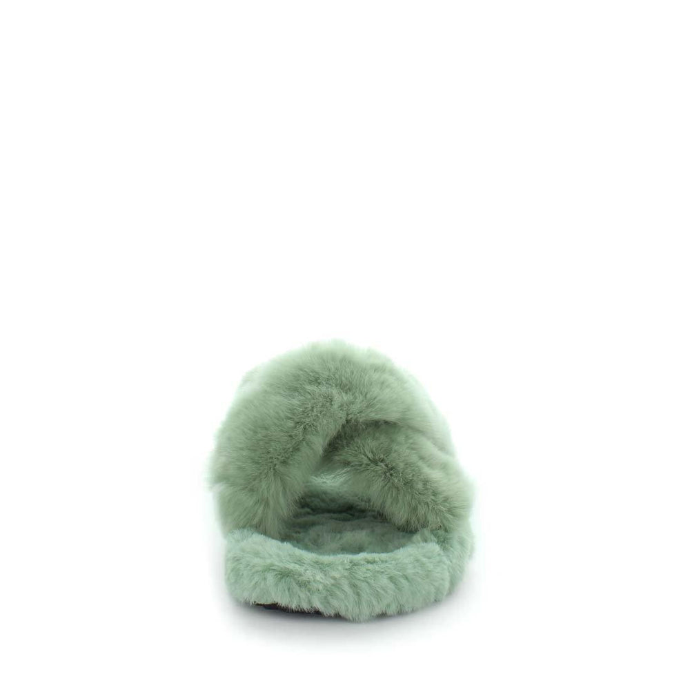 womens slippers - Soft green Ezzy slipper, by panda Slippers. A slide style slipper with a soft rabbit faux fur design. Comfy fit and criss-cross design.